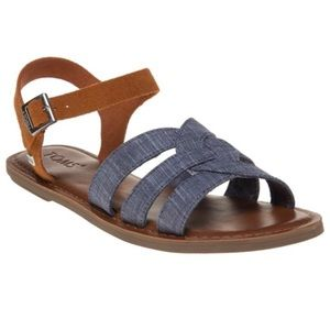 TOMS Zoe Chambray Brown Suede Ankle Strap Sandals